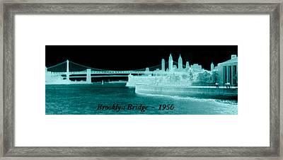 Vintage 1950 Brooklyn Bridge Artsy Framed Print by Marilyn Hunt