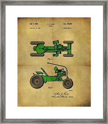 Vintage 1953 Green Tractor Patent Framed Print