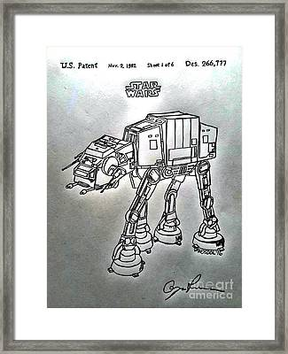 Vintage 1982 Patent At-at Star Wars - Silver Framed Print by Scott D Van Osdol