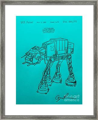 Vintage 1982 Patent Atat Star Wars - Blue Background Framed Print by Scott D Van Osdol