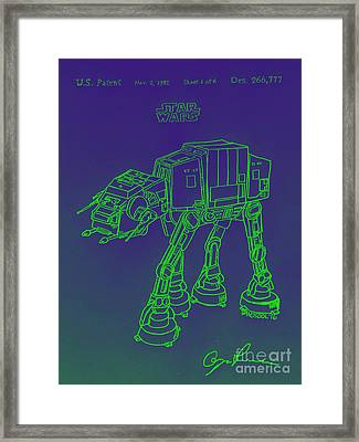 Vintage 1982 Patent Atat Star Wars - Green Glow Framed Print by Scott D Van Osdol