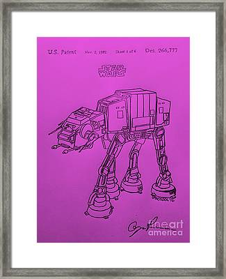 Vintage 1982 Patent Atat Star Wars - Purple Background Framed Print by Scott D Van Osdol