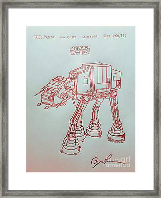 Vintage 1982 Patent Atat Star Wars - Red Silver Framed Print by Scott D Van Osdol