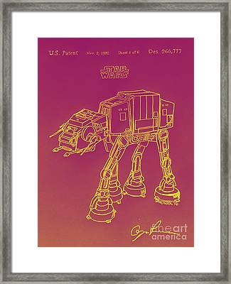 Vintage 1982 Patent Atat Star Wars - Yellow Glow Framed Print by Scott D Van Osdol