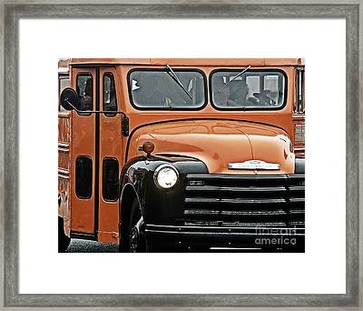 Vintage 54 Chevy School Bus Framed Print by JW Hanley