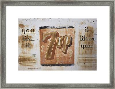 Vintage 7 Up Sign Framed Print
