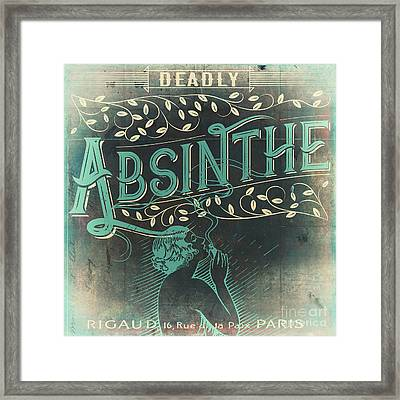 Vintage Absinthe Label Framed Print by Mindy Sommers