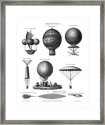 Vintage Aeronautics - Early Balloon Designs Framed Print