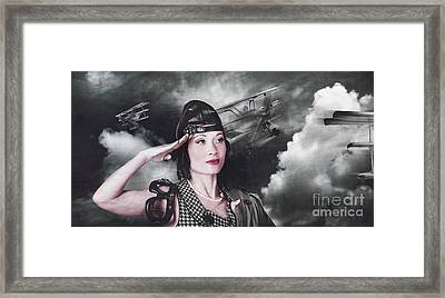 Vintage Air Force Fighter Pilot Saluting Framed Print by Jorgo Photography - Wall Art Gallery
