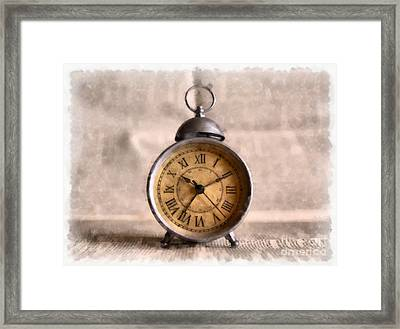 Vintage Alarm Clock Watercolor Framed Print