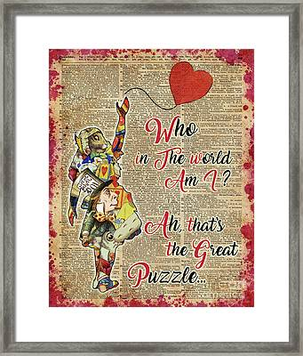 Vintage Alice In Wonderland Collage Who In The World Am I Quote Framed Print