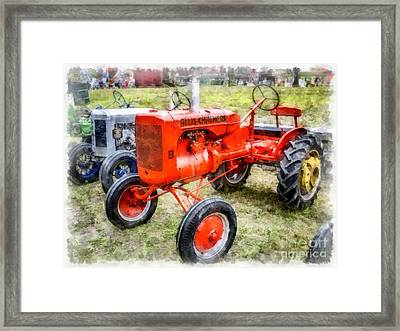 Vintage Allis-chalmers Tractor Watercolor Framed Print by Edward Fielding