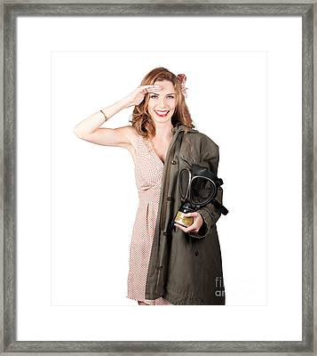 Vintage American Pinup Girl. Army Style Framed Print