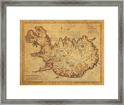 Vintage Antique Map Of Iceland Framed Print