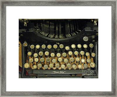 Vintage Antique Typewriter - Text Me - Antique Typewriter Keys Print Black And Gold Framed Print by Kathy Fornal