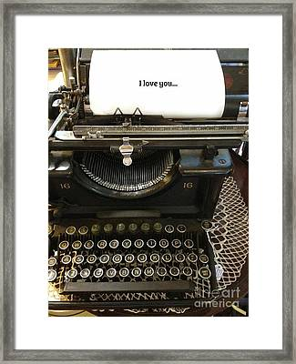 Vintage Antique Typewriter - Inspirational Vintage Typewriter  Framed Print by Kathy Fornal