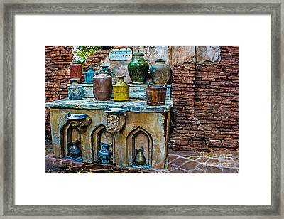 Vintage Antique Water Containers 2 Framed Print by Gary Keesler