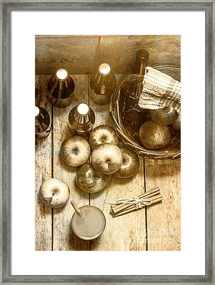 Vintage Apple Cider On Wood Crate Framed Print by Jorgo Photography - Wall Art Gallery