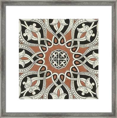 Vintage Arabian Textile Pattern Design Framed Print
