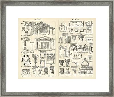 Vintage Architectural Drawings  Baustile I And Baustile II Framed Print by German School