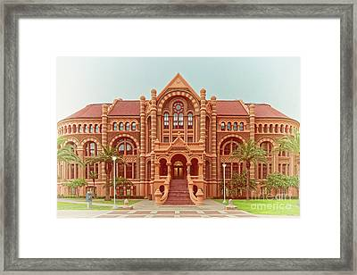 Vintage Architectural Photograph Of Ashbel Smith Old Red Building At Utmb - Downtown Galveston Texas Framed Print
