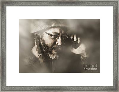 Vintage Army Soldier With Modern Mobile Technology Framed Print by Jorgo Photography - Wall Art Gallery