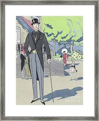 Vintage Art Deco Fashion Print Depicting A Man In Morning Dress Framed Print by French School