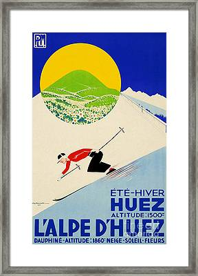 Vintage Art Deco French-swiss Skiing Framed Print