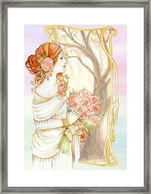 Vintage Art Nouveau Flower Lady Framed Print