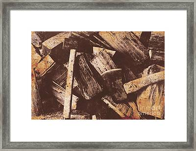 Vintage Axes With On Cut Wood Framed Print