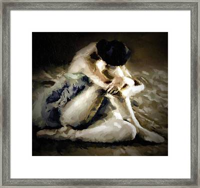 Vintage Ballerina Abstract Realism Grunge Framed Print