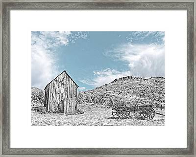 Vintage Barn And Wooden Wagon Black And White Framed Print