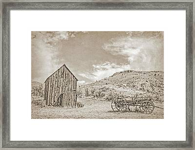 Vintage Barn And Wooden Wagon Framed Print