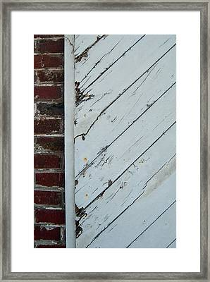 Vintage Barn Door And Red Brick Framed Print