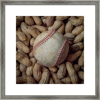 Vintage Baseball And Peanuts Square Framed Print