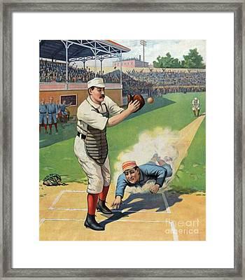 Vintage Baseball Art Framed Print