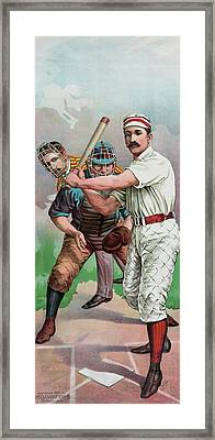 Vintage Baseball Card Framed Print by American School