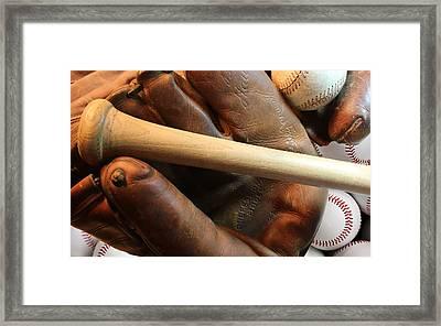 Vintage Baseball Framed Print by Pat Cook