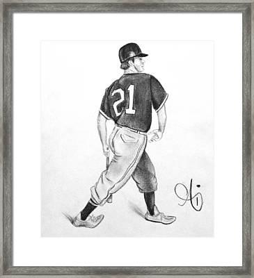 Vintage Baseball Player - Drawing Framed Print