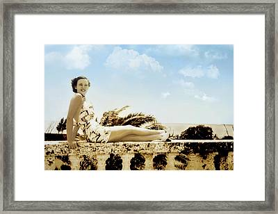 Vintage Beach Beauty Framed Print