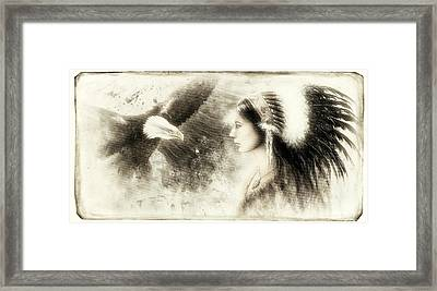 Vintage  Beautiful Airbrush Painting Of A Young Indian Woman Wearing Framed Print by Jozef Klopacka