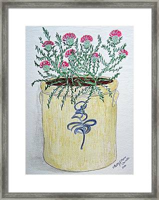 Vintage Bee Sting Crock And Thistles Framed Print by Kathy Marrs Chandler