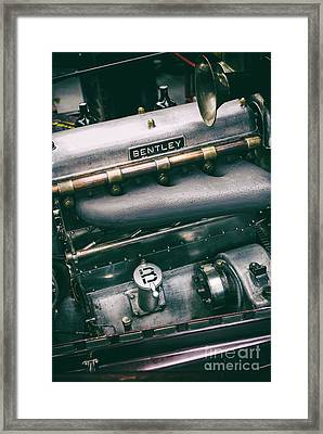Vintage Bentley Engine Framed Print by Tim Gainey