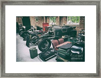 Vintage Bentley Restoration Workshop Framed Print by Tim Gainey