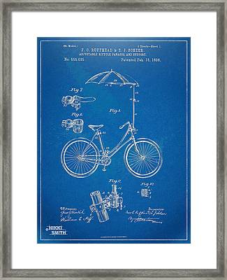 Vintage Bicycle Parasol Patent Artwork 1896 Framed Print by Nikki Marie Smith