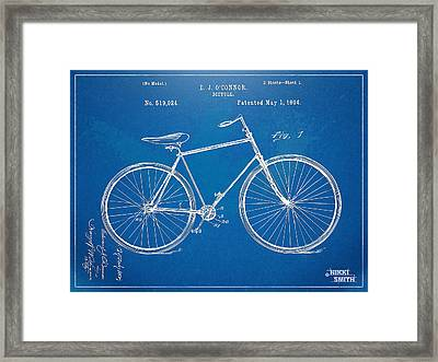 Vintage Bicycle Patent Artwork 1894 Framed Print
