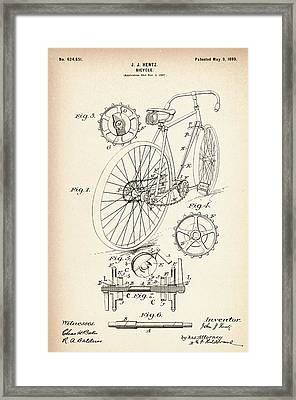 Vintage Bicycle - Patent Drawing For The 1899 J. J. Hentz Bicycle Framed Print by Jose Elias - Sofia Pereira