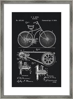 Vintage Bicycle Patent Illustration 1890 Framed Print