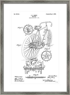 Vintage Bicycle - Restored Patent Drawing For The 1899 J. J. Hentz Bicycle Framed Print by Jose Elias - Sofia Pereira