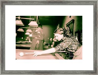 Vintage Billiards Girl Shooting Pool Framed Print